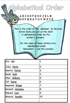 Printables Library Skills Worksheets shelves on the shelf and ojays pinterest alphabetical order worksheet for year 3 4
