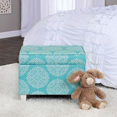 HomePop Kids Teal Print Storage Ottoman