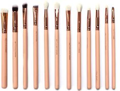Zoeva 12 pieces Rose Golden Complete Eye Set Eyeshadow Eyeliner Blending Pencil Makeup Brushes