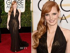 Jessica Chastain at the Golden Globes 2015 in iridescent chocolate brown Versace