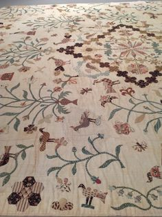 English, Early 1800's Hand Applique Cotton Silk Embroidery detail