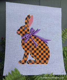 Tall Hare Rabbit - Halloween Check Needlepoint - Jody Designs TH6