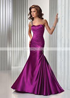violet purple bridesmaids dress | Simple violet purple one-shoulder ruched trumpet evening prom formal ...