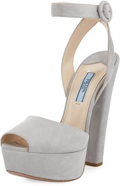 Prada Suede Platform Sandal, Nude