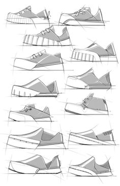 """Bad: Unrealistic proportions of the shoe's various parts. Designs vary in quality and the attempt at """"shading"""" the shoes only helps to confuse due to the inconsistency in placement, forcing the viewer to wonder whether or not the white stripe is for design or part of the """"lighting."""""""
