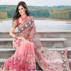 Pink shaded net saree with heavy embroidry