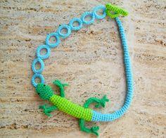 Lizard necklace Fiber art necklace Crochet necklace by LindaLejn, $52.00