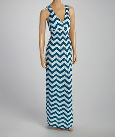 Another great find on #zulily! Turquoise & White Zigzag Surplice Maxi Dress by India Batik #zulilyfinds