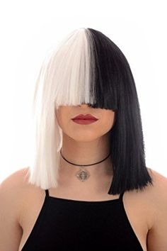 Long Black and White Blunt Cut Bob Costume Wig with Fringe  Fancy Dress Wig In the style of Sia
