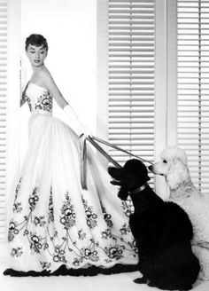 "Wearing a Hubert de Givenchy design in a publicity still for ""Sabrina"", 1954"