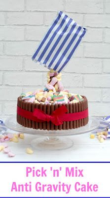 Pick 'n' mix anti gravity cake. Perfect cake for all ages. Retro pick and mix sweets appear to fall from the bag in this easy to make anti gravity cake