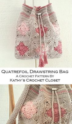 Crochet Bag PATTERN - Quatrefoil Drawstring Bag - Drawstring Bag Pattern - Granny Square Bag - DIY Crochet Purse - Crochet Purse Pattern - My list of best Diy and Crafts Diy Crochet Purse, Crochet Purse Patterns, Crochet Motifs, Crochet Purses, Crochet Stitches, Afghan Patterns, Crochet Handbags, Blanket Crochet, Knitting Patterns