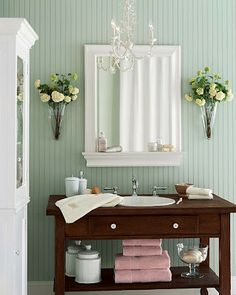 painted paneling in seafoam