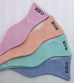 Monogrammed Seersucker Bow Tie, $45