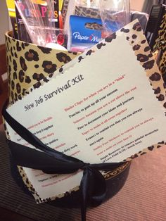 New job survival kit Goodbye Gifts For Coworkers, Gifts For Boss, Gifts For Family, Retirement Survival Kit, New Job Survival Kit, Survival Kit Items, New Job Quotes, Staff Appreciation Gifts, New Job Gift