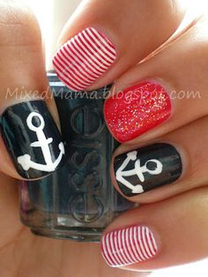 Nautical Nails by Lace & Lacquers: Guest Post From MixedMama
