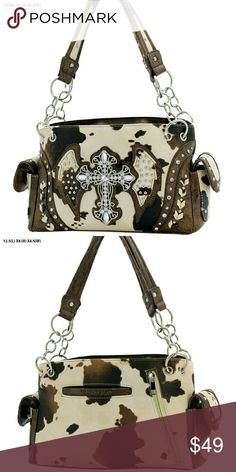 """50% OFF  WESTERN Consealed  Carry PURSE WESTERN CONCEALED CARRY PURSE COW CROSS  Carry your concealed weapon in this Brand New Western Purse with a Sparkly Bling Cross and beautiful Cow Pattern.  Perfect gift for that Cowgirl in your life...Christmas is coming!!  APPROXIMATELY: 12.5""""x8""""x4.5""""   50% OFF RETAIL  Bags Totes"""