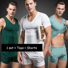 (1set = top& shorts) Men sexy T Shirt Cotton Pajama Set Sleepwear Mens Underwear vest Undershirts Brand Casual Short Sleeve set