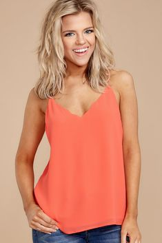 662d7b92c1fdc Believe It Or Not Hot Coral Top. Coral TopCute Tank TopsTrendy ...