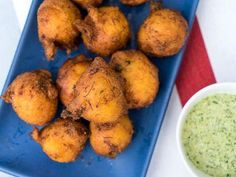 """Crab Hush Puppies with Cilantro-Jalapeno Dip (Americana) - Katie Lee, """"The Kitchen"""" on the Food Network."""