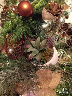 Succulents & Spruce Christmas Tree @diyshowoff - #michaelsmaker dream tree challenge decorating ideas