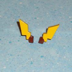 Pokemon - Pikachu Tail Stud Earrings - Sterling Silver Posts   YellerCrakka - Jewelry on ArtFire