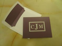 Stampin Up Sophisticated Serifs card with matching lined envelope