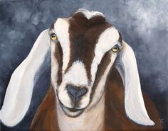 "Nubian Goat, ""ain't no sunshine when she goes away,"" original acrylic painting by Tracy Anderson"