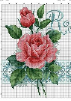 This Pin was discovered by Ser Cross Stitch Rose, Cross Stitch Flowers, Cross Stitch Charts, Cross Stitch Designs, Cross Stitch Patterns, Cross Stitching, Cross Stitch Embroidery, Christmas Embroidery Patterns, Crochet Cross