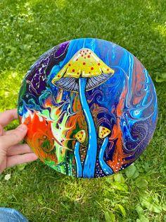 Acrylic mushroom painting on wood circle Circle Painting, Painting On Wood, Mushroom Circle, Indie Room Decor, Mushroom Paint, Trippy Mushrooms, Wood Circles, Chicago Area, Color Harmony