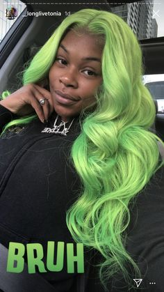 I am a woman with a love for hair and making people more confident than ever with their new look! Baddie Hairstyles, My Hairstyle, Funky Hairstyles, Formal Hairstyles, Wedding Hairstyles, Curly Hair Styles, Natural Hair Styles, Green Wig, Birthday Hair