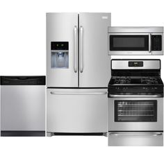 "Image of 4-Piece Stainless Steel Kitchen Package with FFHB2740PS 36"" French Door Refrigerator FFGF3053LS 30"" Gas Range FFBD2411NS Full Console Dishwasher and"