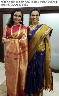 Dancer Anita Ratnam in gorgeous Kanjeevaram from Tamilnadu!
