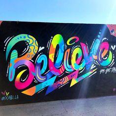 art illustration Jason NAYLOR jasonnaylor jnay NAYLOR I love this celestial-look. art illustration Jason NAYLOR jasonnaylor jnay NAYLOR I love this celestial-looking shot of my BELIEVE mural for Xab Graffiti Art, Murals Street Art, Graffiti Painting, Graffiti Lettering, Painting Art, Street Wall Art, Painting Lessons, Spray Painting, Typography