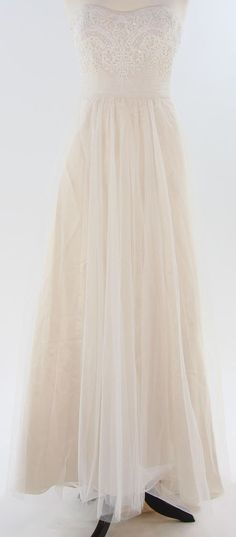 DAVID'S BRIDAL Wedding Gown Corset Strapless A-Line Beaded Lace Tulle Ivory Sz 8