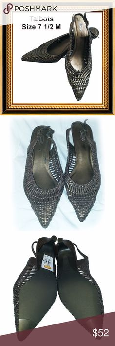 TALBOTS Bronze Woven Heels - 7.5 Condition:  Excellent  No scratches.  Slight wear on insole at right heel. Talbots Shoes Heels