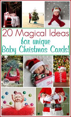 20 baby Christmas card ideas and poses to inspire your own DIY or custom holiday cards. Some of these are SO cute. Bonus: baby will have fun at your photo shoot!