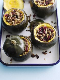 This recipe for gem squash with cranberry and chestnut stuffing is easy, healthy and vegetarian. This easy vegetarian squash recipe has been triple tested Veggie Recipes, Low Carb Recipes, Vegetarian Recipes, Veggie Meals, Fall Recipes, Holiday Recipes, Healthy Recipes, Small Food Processor, Food Processor Recipes
