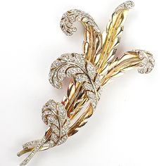 #Trifari 'Alfred Philippe' pave Yellow and Rose Gold Multiple Feather Leaves Pin