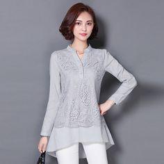 Blusas Femininas 2016 Autumn Fashion V-neck Lace Blouse Women Long Sleeve Shirt Casual Ladies Tops Plus Size Chemisier Femme 3XL