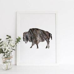 Printable Wall Art Buffalo Print Wood Print Rustic Print