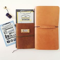 """There's something about the traveler's notebook that makes you want to spoil it with accessories! Beware of the traveler's notebook virus!  The notebook on the right is a """"fauxdori"""" and is from the lovely @pelle_studio. Very different leather,"""