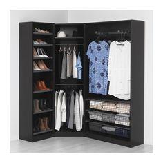 PAX Wardrobe, black-brown, Ballstad white standard hinges 48 3/8/68 1/8x15x79 1/4