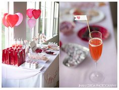 Valentine's Day dessert table - very cute idea for a bridal shower!