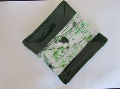 Fused Glass Dish  Green Glass  Clear Specialty Glass  Home