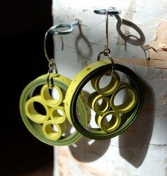 Boucles d'oreilles papier moderne / 1er cadeau anniversaire / léger boucles d'oreilles bijoux de papier / / Eco amical / Sterling argent boucle d oreille - Halo