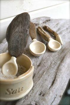 salt cellar, ceramic/drifwood spoon by linda fahey