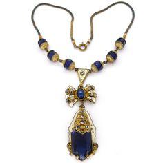 Vintage Czech Art Deco White Enamel Blue Glass Marcasite Necklace | Clarice Jewellery | Vintage Costume Jewellery