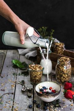 Granola and homemade almond milk pair really well. Two simple staple foods that can be combined in a myriad of ways.