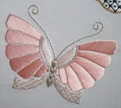 Design, © Jennifer Ashley Taylor This butterfly represents my Mum. It is stitched in two shades of pink silk and silver metallic threads Floral Embroidery Patterns, Butterfly Embroidery, Couture Embroidery, Hand Embroidery Stitches, Embroidery Hoop Art, Hand Embroidery Designs, Embroidery Techniques, Beaded Embroidery, Cross Stitch Embroidery